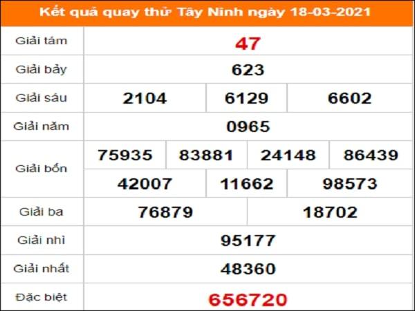 Quay thử kết quả xổ số tỉnh Tây Ninh 18/3/2021