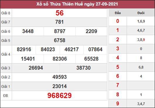 Soi cầu xổ số Thừa Thiên Huế ngày 4/10/2021